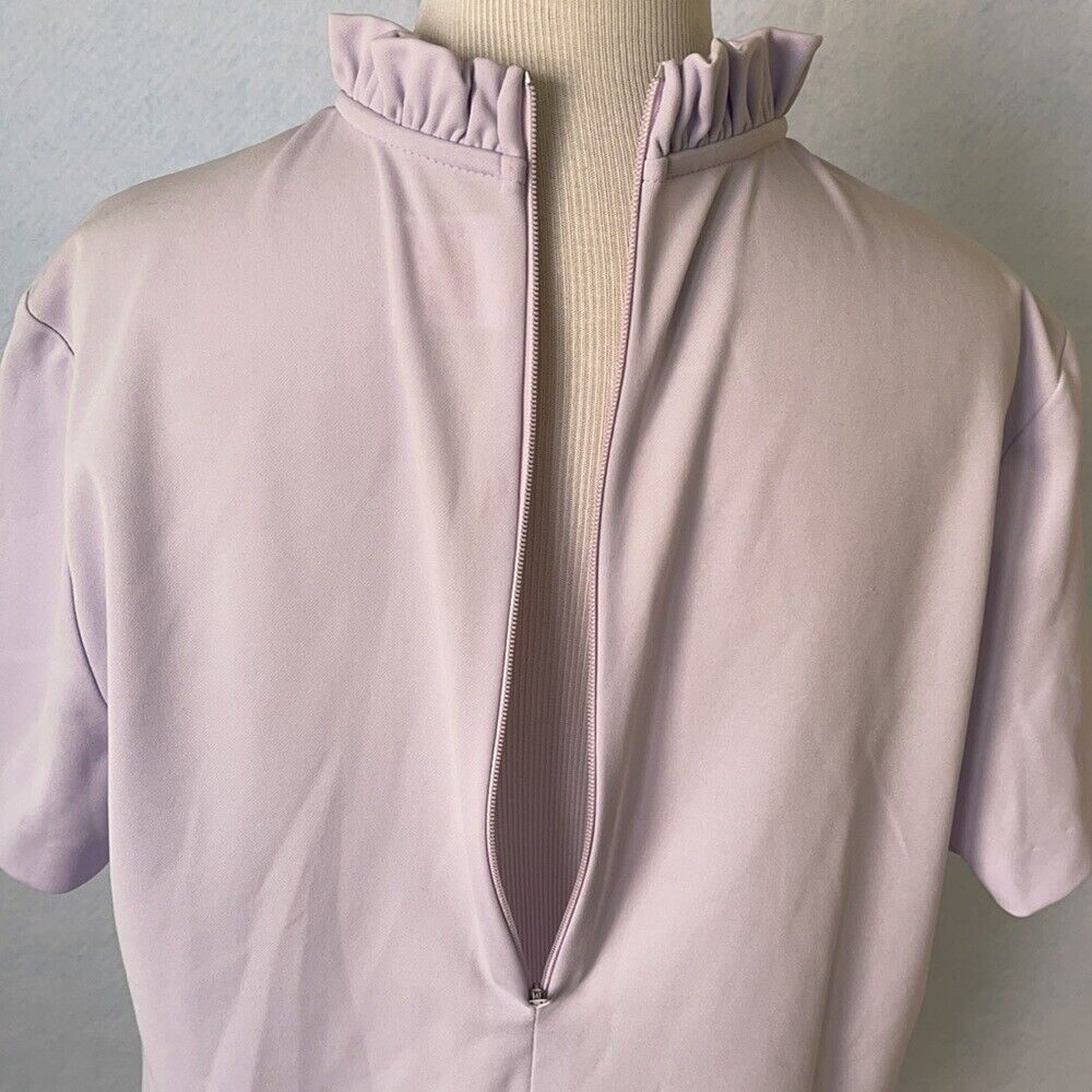 Graff Vintage Lilac Ruffled High Tie Neck Blouse,… - image 9