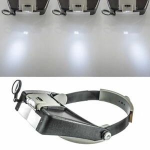 Jewelers Head Headband Magnifier LED Illuminated Visor Magnifying Glasses Loupe