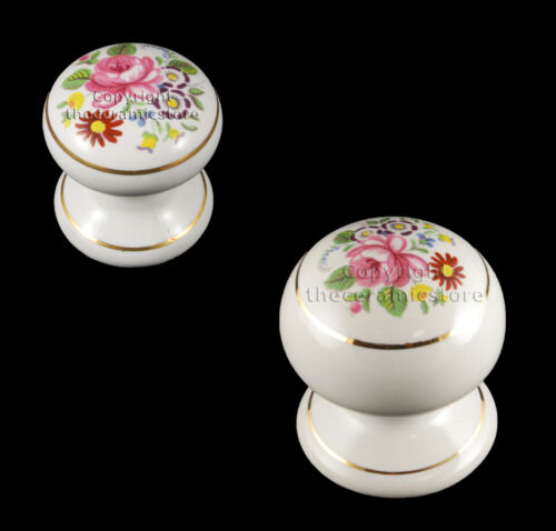 Pack Of 4 x White Ceramic Cupboard Drawer Door Knobs Floral Chintz Flower Design