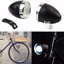 Retro 3 LED Bike Bicycle Chrome Visor Bullet Headlamp Headlight Front/Tail Light