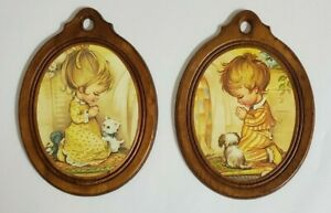Vintage-1965-Boy-amp-Girl-Bedtime-Prayer-Wood-Circle-Prints-By-Coby-Wall-Art