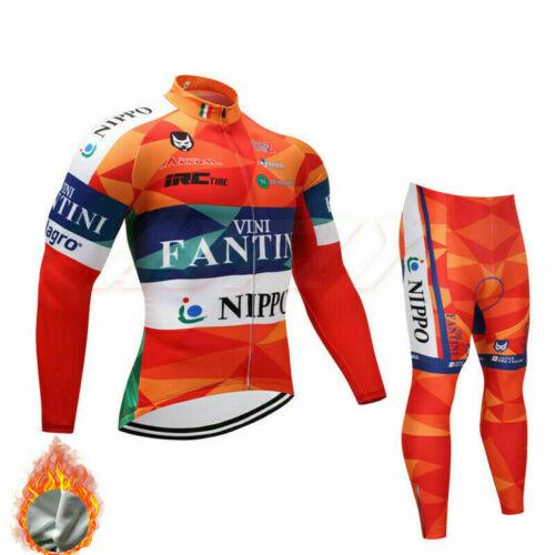 Homme Maillot de cyclisme Set Manche Longue Vélo Haut Bib Pantalon Kit Hiver Thermal Veste