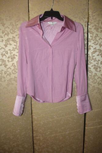 ST. JOHN Pink Lavender Purple Silk Button Down Blo