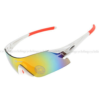 RockBros Cycling Sunglasses Riding Bike Goggles Glasses White Red Unisex Adult