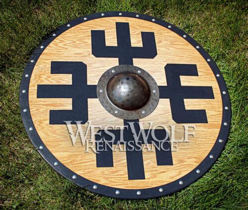 Solid Oak Viking Protection Symbol Shield sca//larp//norse//warrior//armor//Norway