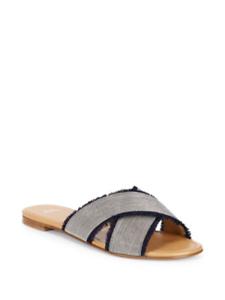 Silver Stuart Weitzman Women/'s Edgeway Fringe-Trimmed Sandals Size 7.0