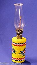 "Paiute Indian Beaded Glassware Oil Lamp  2 1/4"" x 10 1/4"""