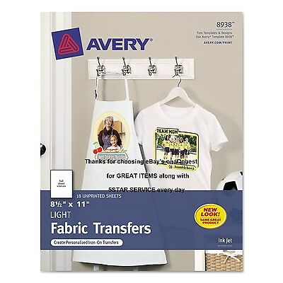 18 TRANSFERS LIGHT Fabric Iron-On T-shirt Avery 8938 InkJet Printable 8.5x11sht