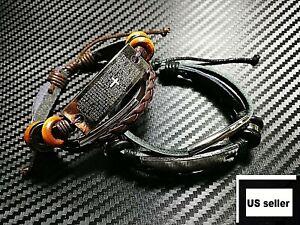 Men-Women-Leather-Bracelet-Handmade-Wristband-Bangle-Cross-Jesus-Trust-Layer-New