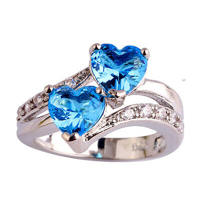 Heart Blue & White Topaz Jewelry Pretty Gems Silver Ring Size 6 7 8 9 10 11 12