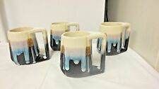 Lot 4 Ethnic Padilla Artist Signed Heavy Drip Mugs or Cups-Mexico Stoneware