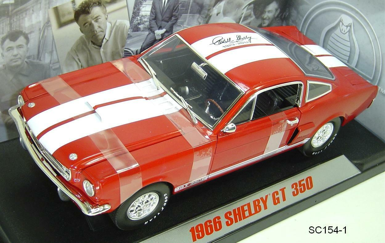 1966 FORD MUSTANG SHELBY GT350 rosso WITH bianca  STRIPES 1:18 SIGNATURE EDITION