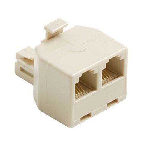 Eagle 2 Way Telephone Splitter Ivory 6 Wire Phone Adapter RJ11 RJ12 Dual T Split