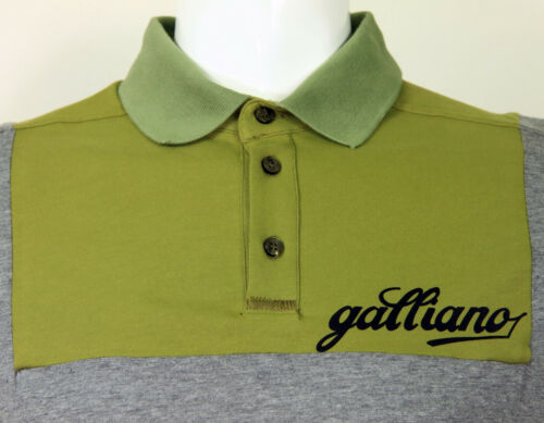 Galliano block panel L//S polo grey//olive