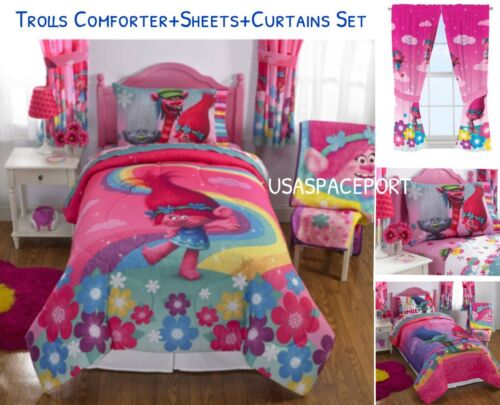 10pc TROLLS FullDouble COMFORTER+Pillow SHAM+SHEETS+CURTAINS Set Bed In a Bag