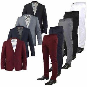 Vestido-De-Fiesta-para-Hombre-Formal-Elastico-Slim-Fit-Traje-Chaqueta-Blazer-de-cena-Pantalones