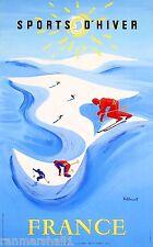 Sports d' Hiver France European Winter Ski Europe Travel Advertisement Poster