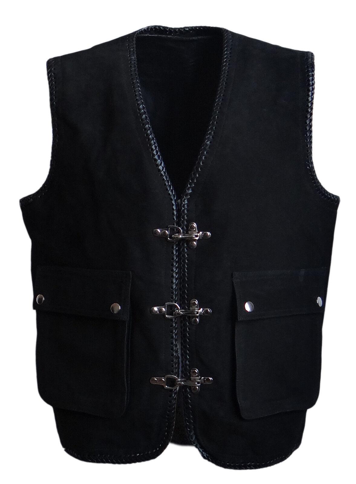 Bikerweste Kutte Lederweste Karabinerhaken Nubuk Nubuk Nubuk Leder schwarz Größe S | Elegante und robuste Verpackung  f70391