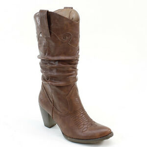 s western cowboy style chunky heel wide calf mid