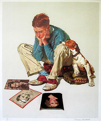 """NORMAN ROCKWELL Signed 1976 Original Color Lithograph - """"Star Struck"""""""