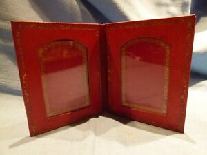 Vintage-Travelling-Folding-Red-Leather-Picture-or-Photo-Frame