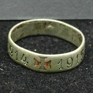 WWI-Ring-Patriotic-Iron-Cross-1914-1915-Hallmark-JD-Sterling-Silver-2-7g-Germany