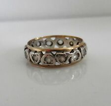 Vintage 30/40s 9ct Yellow Gold & Sterling Silver FULL ETERNITY Heart Ring - L1/2