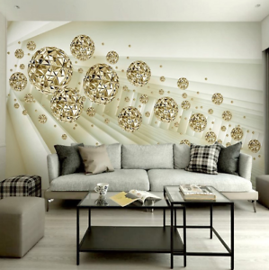 Details About 3d Modern Abstract Space Golden Balls Self Adhesive Wall Murals Wallpaper Photo