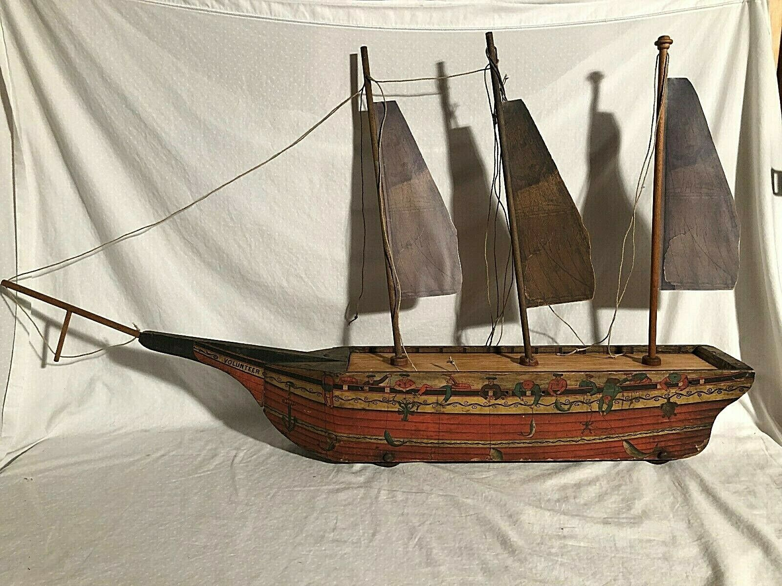 Reed Bliss Wooden Paper Litho Volunteer Ship. Vintage Large Toy Circa 1870s-80s