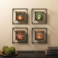 Set Of 4: Mosaic Glass Metal Frame Wall Mounted Candle Holder Decor Sconces