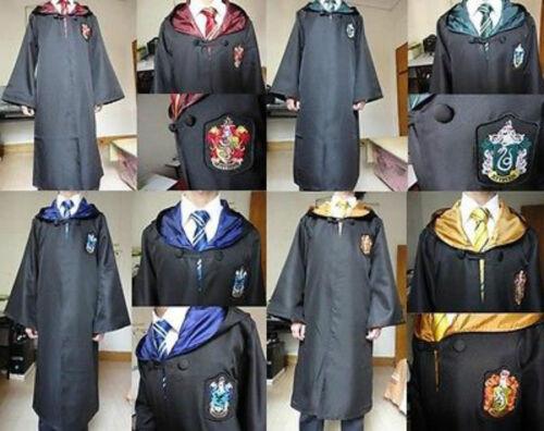 HarryPotter Kids Adult Halloween Costume 3 pieces House Robe Cloak Scarf Tie