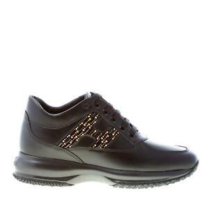 HOGAN scarpe donna Sneaker Interactive in pelle nero con micro ...