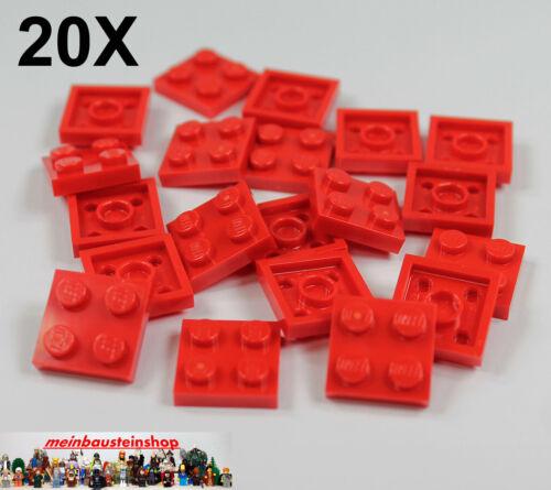 20X Lego® 3022 flache Platten Plate 2X2 Rot Red Neu