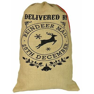 Santa Sack Present Hessian Gift Xmas Stocking Bag - Delivered By Reindeer Mail