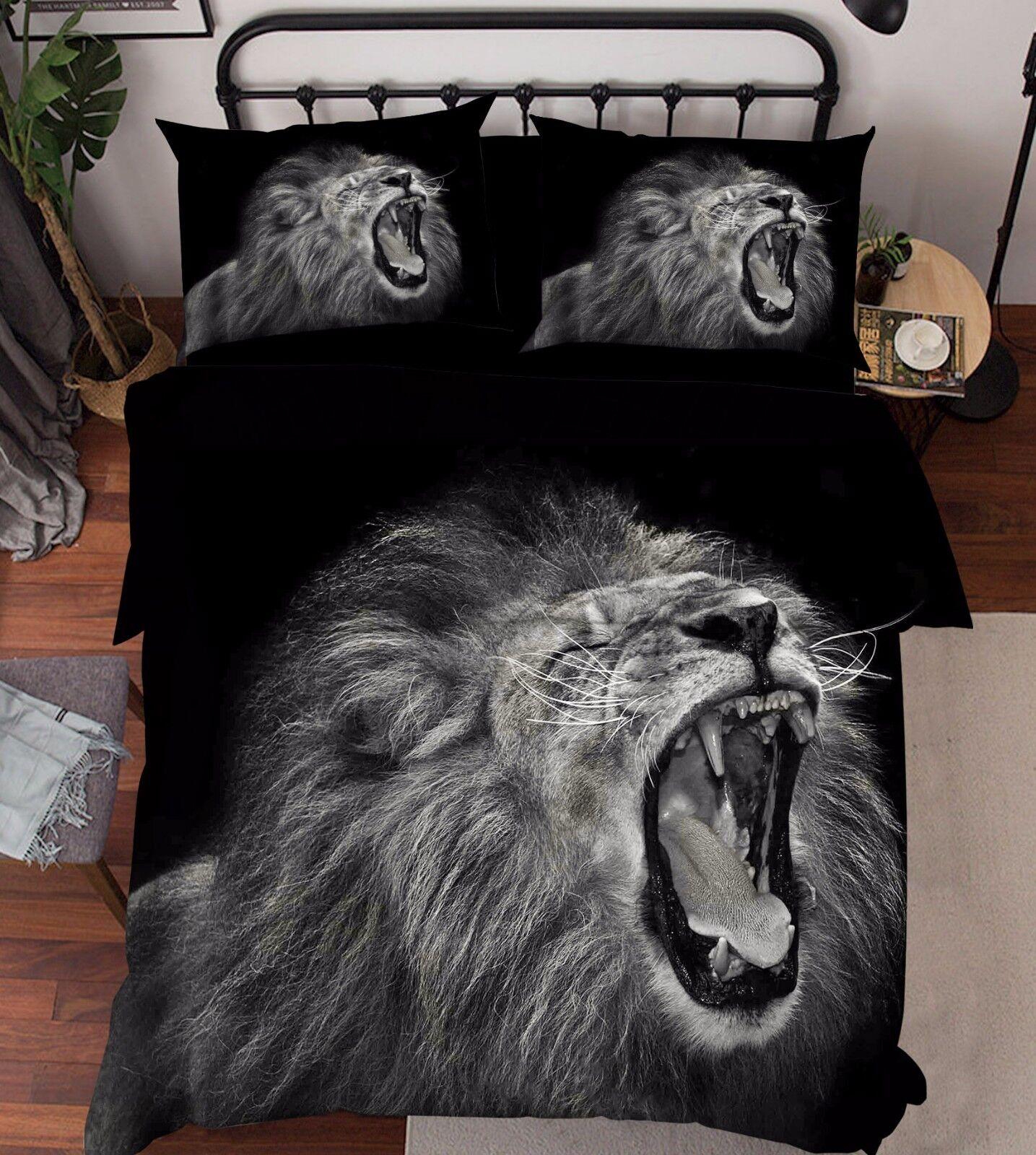 3D Lion Animal 876 Bed Pillowcases Quilt Duvet Cover Set Single Queen UK Kyra