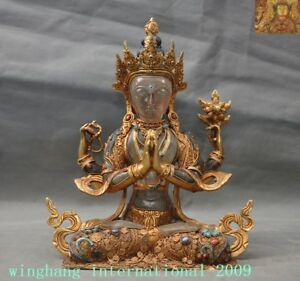 Bronze 24k Gold Crystal Inlay Turquoise Gem 4 Arms Chenrezig Tara Buddha Statue Careful Calculation And Strict Budgeting Tibet Asian Antiques