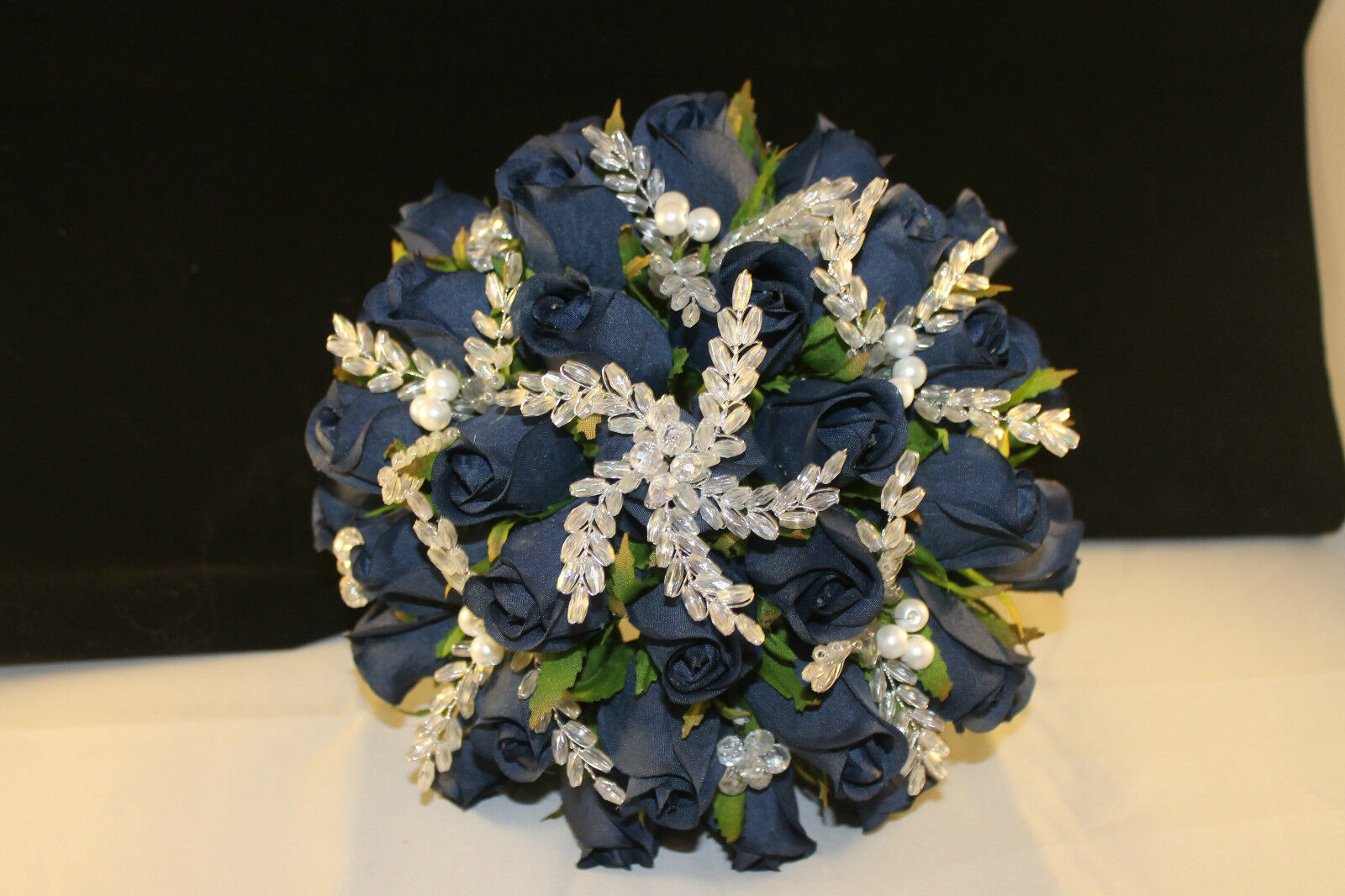 BRIDAL BOUQUET NAVY Blau  CRYSTAL FLOWERS, PEARLS & DIAMANTE