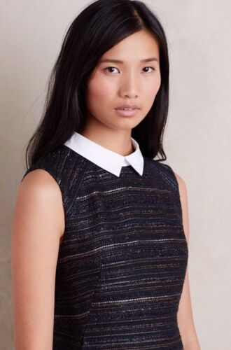 NEW $228 Anthrpologie Collared Jacquard Dress Size 2P