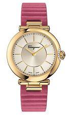 Ferragamo Women's FIN030015 Style Diamond Gold IP Steel Fuchsia Leather Watch