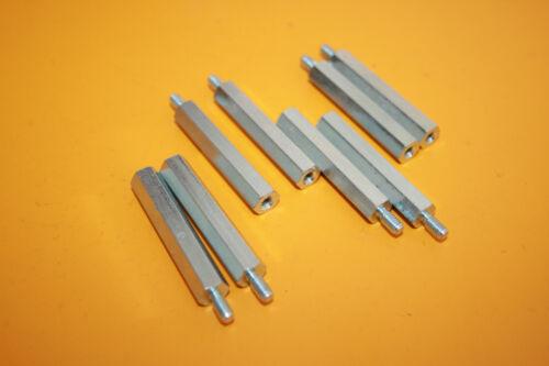 SW 8 Stahl verzinkt Abstandshalter M4x45 Distanzbolzen 8 Stück Abstandbolzen