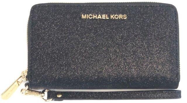 06ff96db6291 Michael Kors Black Glitter Gold Zip Flat Phone Case Leather Wallet Gift