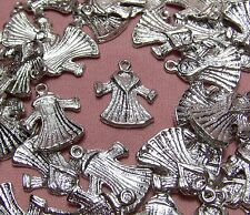 LOT OF 50 SILVER LADY WINTER COAT-FASHION-CHARMS-DROPS-JEWELRY FINDINGS-SUPPLIES