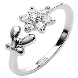 .925 Sterling Silver Butterfly & Clear CZs Flower Adjustable CZ Toe Ring TR5