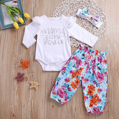 3PCS Newborn Baby Girls Flower print Clothes Tops Romper Pants Headband Outfits