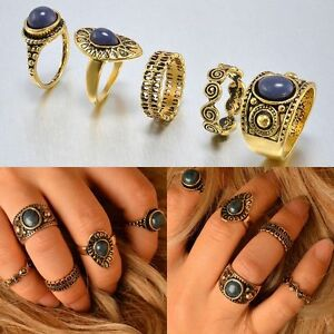 Fashion-Women-Gold-Silver-Above-Knuckle-Finger-Ring-Band-Midi-Rings-New-5Pcs-Set