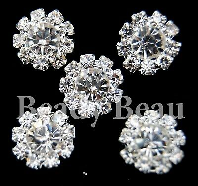 5 Piece  SILVER Round Clear Crystal Rhinestone Diamante Bling Shank Sew on