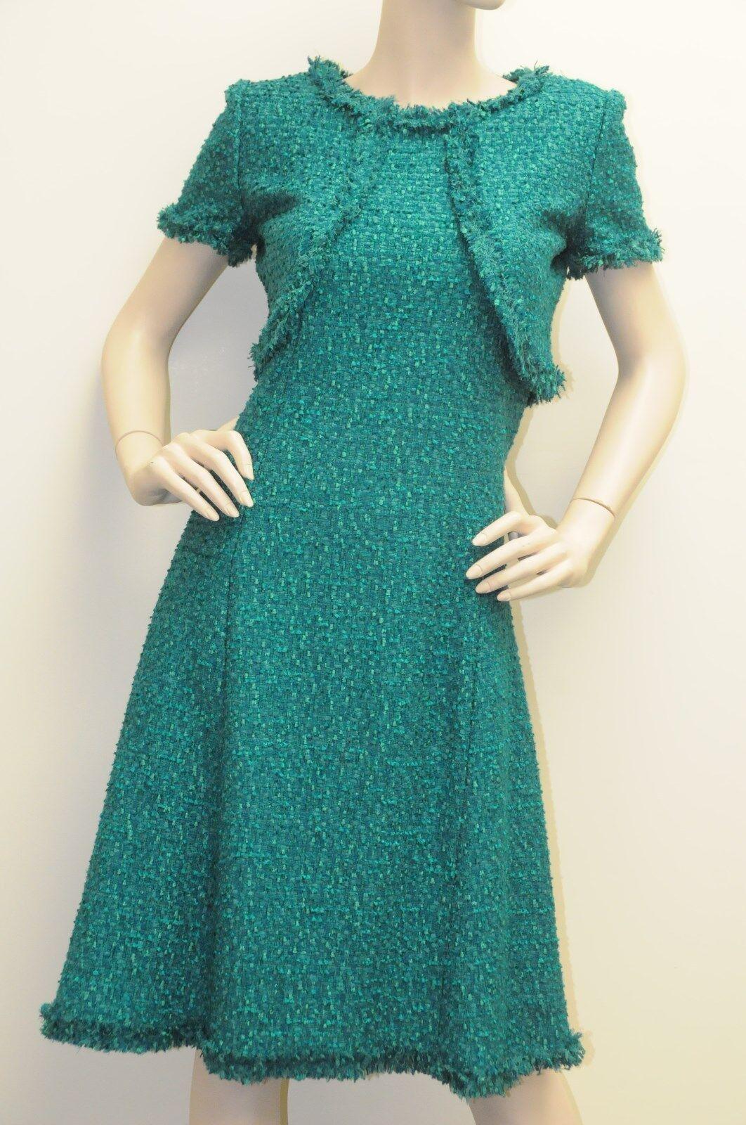 Neuf Oscar de la Renta Strass green Émeraude Tweed Fall 2013 Robe size 2