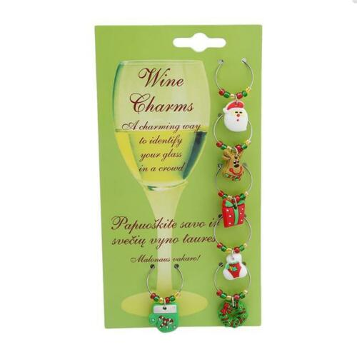 Christmas Cartoon Wine Glass Charms Drink Markers Gift Charm Rings BL