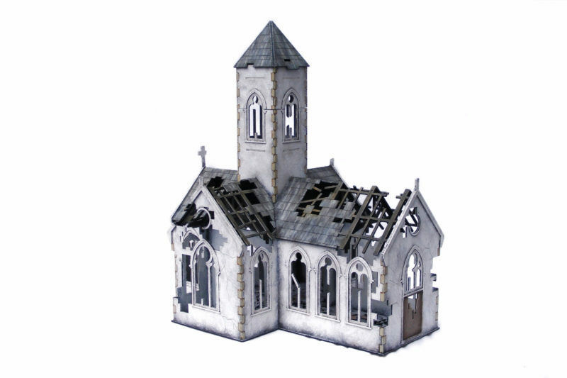 WW EUROPE Village Church – Destroyed 28mm Laser cut MDF kit N081