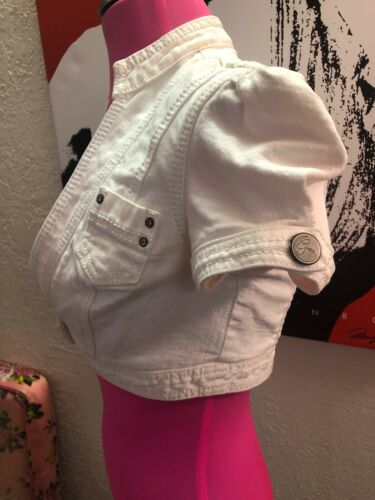 White Denim Cap Jean Rhinstones Collared Shrug Sleeve Blouse Cover Crop Guess BxeWCord